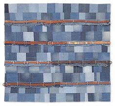 Blue jeans quilt by Shantell Pike.  2014 silent auction, Salvage/Selvedge quilt project. Recycling Ideas, Recycled Clothing, Recycle Jeans, Old Jeans, Silent Auction, Fiber Art, Belts, Old Things, Quilting