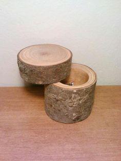 Log Jewelry Box, Ring Bearer Box, Ring Holder, Jewelry Holder, Rustic Wedding.