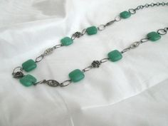 Dark Jade and Pewter Rose Beaded Necklace by BeadedDesignsJacquie, $18.00