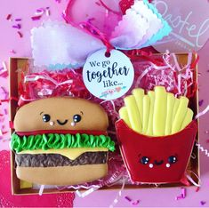 We go together like burger and french fries valentine's day cookies! -See more of our favorite valentine's day cookies of 2019 on B. Lovely Events! #valentinesday #cookies #decoratedcookies