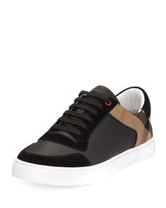 BURBERRY Reeth Leather & House Check Low-Top Sneaker, Black. #burberry #shoes #