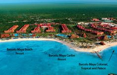 Picture of Barcelo resorts - Maya Beach is to the left, then Maya Caribe, then Maya Colonial, Tropical and Palace to the right.