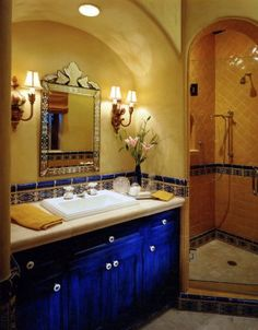 Love the cobalt blue: powder room off dining and foyer?