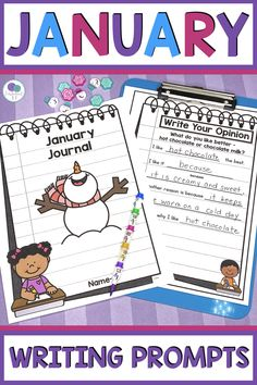 These writing prompts are perfect for your January or winter daily writing lessons. Kindergarten & 1st grade students will love using these monthly journals with a simple writing prompt for each day. This journal includes labeling, how to writing, opinion, informational, narrative & procedural writing prompts with templates for beginning and advanced writers. This creative writing is perfect for distance or remote learning & includes printable and digital google slides. #winterwritingprompts