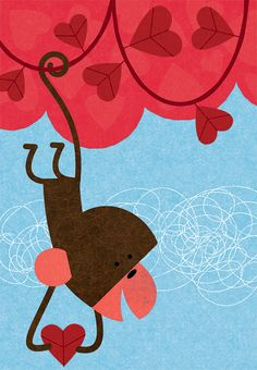 Marian Heath Valentine's Day Card Monkey Tree illustration by Steve Mack