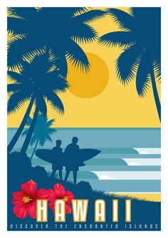 Hawaii Vintage Art Deco Style Surf Travel Poster. Sizes 8'' x 10'' to 24'' x 36'' #vintagetravelposters