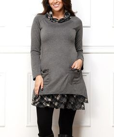 Another great find on #zulily! Charcoal Plaid Layered Cowl Neck Tunic - Plus #zulilyfinds