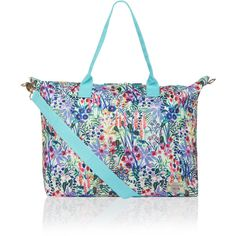 Accessorize Floral Packable Weekender Bag (£35) ❤ liked on Polyvore featuring bags and luggage