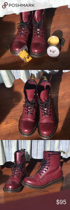 """Women's Dr. Martens 1460 """"Cherry Red Smooth"""" Women's 1460 Smooth Dr. Martens. Comes in color """"Cherry Red"""". These boots are very lightly worn and in almost pristine condition! There are no damages besides light scratches on the toes. I will also be including an extra pair of laces in yellow and a jar of the """"wonder balsam"""" (wonder balsam will help buff out the scratches! it has never been used, check pics!). I can ship these in the original box if requested. I am willing to hear any offers…"""