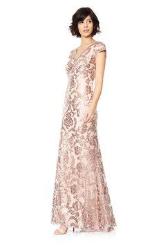 428 Tadashi Shoji - Paillette Embroidred Lace Scalloped V-Neck Gown