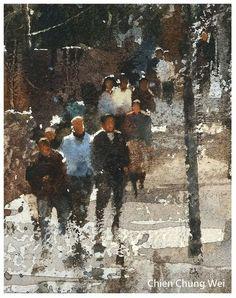 """Chien Chung Wei, """"A portrait among a landscape painting"""" Focus figure Watercolor Artwork, Watercolor Artists, Artist Painting, Figure Painting, Painting & Drawing, Painting People, Watercolor Architecture, Watercolor Landscape, Landscape Paintings"""
