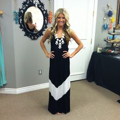 MVB Black and White Color Block Chevron Maxi Dress-  MORE STOCK JUST ADDED