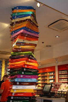 Ritter Sport Store Chocolate Bar Tower - the store has a great little chocolate museum and many different varieties of this favorite little chocolate treat!  http://www.ritter-sport.de/#/de_DE/berlin/