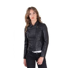 Now available on our store: Women's Leather J... Check it out here! http://scottandmillers-luxury.com/products/womens-leather-jacket-biker-shirt-collar-cross-zip-black-color-kbc?utm_campaign=social_autopilot&utm_source=pin&utm_medium=pin