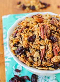 Granola is the best make-ahead breakfast. It's full of nuts and whole grains and healthy stuff, with a hint of maple and cinnamon. And it's so easy!