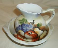 Pitcher & Bowl Vintage  Fruit Pattern Hand Painted EUC