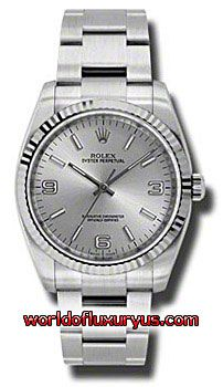 116034-SAIO - This Rolex Oyster Perpetual No-Date Mens Watch, 116034-SAIO features 36 mm Stainless Steel case, Silver dial, Sapphire crystal, Fixed bezel, and a Stainless Steel bracelet. Rolex Oyster Perpetual No-Date Mens Watch, 116034-SAIO also features Automatic movement, Analog display. This watch is water resistant up to 30m/100ft. - See more at: http://www.worldofluxuryus.com/watches/Rolex/No-Date/116034-SAIO/641_802_6463.php#sthash.y0HcFf9m.dpuf