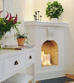 To improve your home's decor, try small updates, like updating your fireplace! Read these five fireplace ideas that can dramatically increase your space. Living Room Sets, Living Room Designs, Living Room Decor, Scandinavian Fireplace, Unused Fireplace, Empty Fireplace Ideas, Interior Decorating, Interior Design, Decorating Ideas