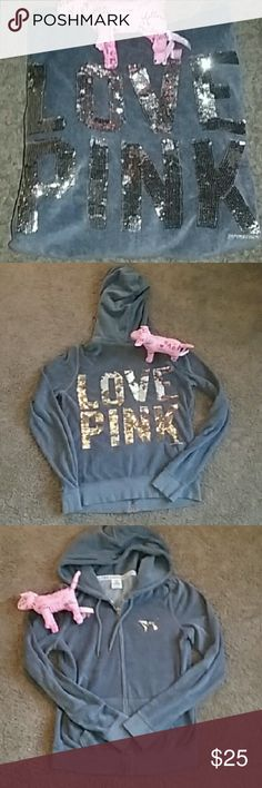 VS LOVE PINK bling bling hoodie W/ pink dog Soft, velour material with bling dog and bling bling writing on back. Very soft, warm hoodie. Very shiny eye catcher. This hoodie comes with pink dog, good for this type of season PINK Victoria's Secret Tops Sweatshirts & Hoodies