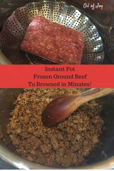 Oil of Joy Instant pot tutorial for frozen ground beef to browned plus spaghetti dinner! Trim Healthy Mama THM