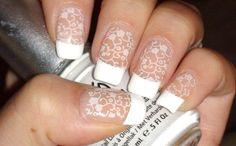 lace french nail art. neutral nail art.