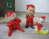 Vintage Red Elf Trio Ceramic Christmas Elves Mismatched Pixie Figurines Instant Collection Holiday Decor