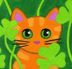 Cat Drawing, Drawing For Kids, St Patricks Day Pictures, Kids Canvas Art, Homemade Art, Unicorn Crafts, Orange Tabby Cats, Cat Quilt, Cat Colors