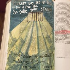 """Instagram account @myartbible """"Christ has set us free to live a free life. So take your stand! Never again let anyone put a harness of slavery on you."""" Galatians 5:1 MSG #watercolors #galations5 #biblejournaling #artbible #illustratedfaith #art #bibleartjournal #prison #bars #light #slavery #freedom"""