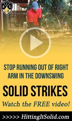 Hitting It Solid shows you what to do if you're running out of right arm golf in your swing. This simple fix enables you to get into a better golf impact position striking the ball solid. CLICK THE IMAGE to watch the video. #runningoutofrightarmgolf #righarmgolfdownswing #straighteningrightarmdownswinggolf #golfswingrightarmdownswing Golf Downswing, Golf Slice, Run Out, Golf Instruction, Golf Lessons, Arms, Pure Products, Running, Keep Running