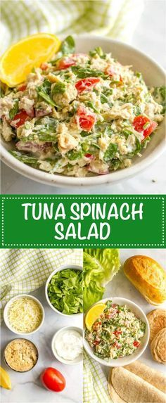 Tuna spinach salad with tomatoes and mozzarella is a light, fresh and healthy lunch ready in just 10 minutes! Serve it as a salad, in a wrap, with crackers or as an open-faced melt!   www.familyfoodonthetable.com