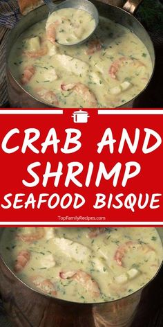 Crab And Shrimp Seafood Bisque seafoodbisque bisquerecipes seafoodrecipes crabrecipes shrimprecipes 701506079441597214 Best Seafood Recipes, Crab Recipes, Seafood Chowder Recipes, Seafood Stew, Top Recipes, Simple Recipes, Recipes Dinner, Crockpot Recipes, Salad Recipes