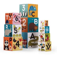 Learn your ABCs and 123s with this artistically illustrated set of 10 nesting and stacking blocks! Manufactured by Crocodile Creek.