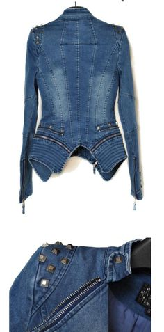 jeans women Punk spike Denim Jacket :: Muse4u
