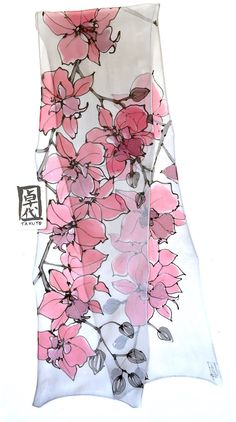 Small Silk Scarf Handpainted Gift for women by SilkScarvesTakuyo