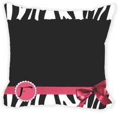 Rikki Knight® Letter ' F ' Tropical Pink Zebra Bow Monogram Microfiber Throw Décor Pillow Cushion 16' Square Double Sided Print (Insert Included)