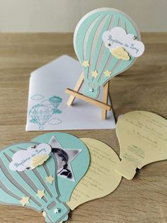 Announcement of birth or baptism - birthday invitation - hot air balloon - cloud + matching envelope - - -