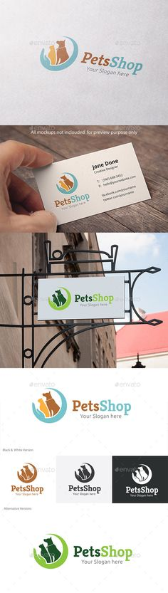 Pets Shop Logo Template Vector EPS, AI #logotype Download: http://graphicriver.net/item/pets-shop/11319612?ref=ksioks