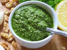 Ever wonder what to do with extra parsley? Make this simple, fresh, dairy free Lemon-Pepper Parsley Pesto and never through away extra parsley again. Parsley Pesto, Basil Pesto, Small Food Processor, Food Processor Recipes, Vegan Pesto Pasta, Lemon Pepper Seasoning, Clean Eating Diet, Vegan Recipes, Vegan Food