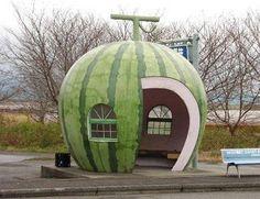 watermelon bus stop in Ishaya, Japan.
