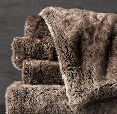 Luxe Faux Fur Throw - Mink. $79 [rh]