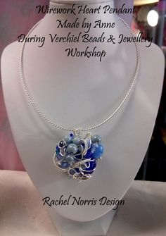 Wirework heart Pendant made by Anne, during Verchiel Beads and jewellery workshop.  Rachel Norris inspired Design.