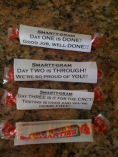 Great ideas for those of us feeding kids during FCAT-Room Moms Rock: CRCT Snacks & Treats Student Treats, School Treats, Student Gifts, Student Rewards, Teacher Gifts, School Classroom, School Fun, Classroom Ideas, School Days