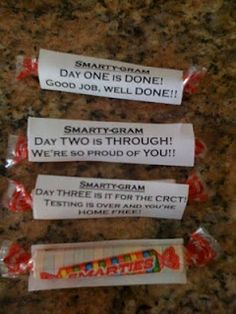 CST Testing Treats.  I plan on making these for my 7th graders (need a 4th saying) and passing them out as they leave my room to lunch!