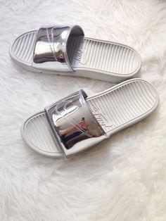 Nike benassi slides liquid silver   girl on kicks