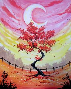 Cute crescent moon, tree, fence, painting idea. The Pint - Whyte Avenue 09/19/2017 | Paint Nite Event