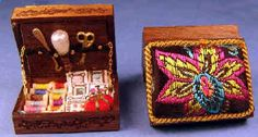 Beautiful miniature sewing box filled with embroidered top - 1/12 scale.