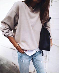 Dusty Pink Sweater + Distressed Denim Jeans - Women's Fashion - Fall Fashion