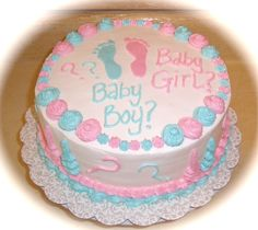 Have a Gender Reveal Party.   Before you leave the doctor's office from your sonogram, call your baker and have the nurse or receptionist tell them your baby's gender.  Make sure you don't hear.  Then later at the party, cut the cake in front of all your friends and family and find out together.  The outside of your cake will be decorated with both pink and blue.  The inside of the cake will be pink or blue (girl or boy) with white filling, or we can just make the filling pink or blue with…