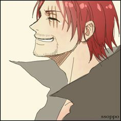 """Red-Haired"" Shanks, smiling; One Piece"