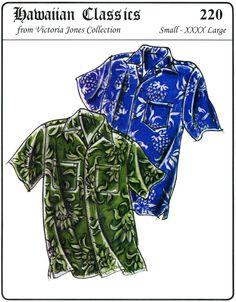 Loose-fit Casual Hawaiian Aloha Shirt Men S-4X Victoria Jones Sewing Pattern 220 #VictoriaJones #Hawaiian